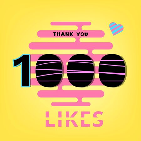 1000 likes thank you banner Post for social media. Vector illustration.