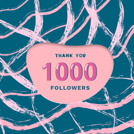 1000 followers thank you card. Cover with papercut shape brush abstract lines. Template for social media. Vector illustration.