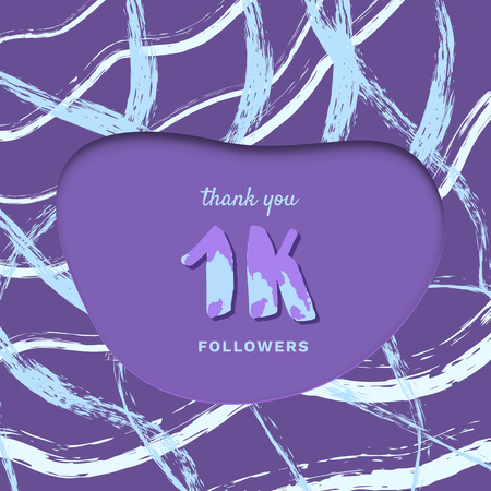 1K followers thank you card. Cover with papercut effect and brush abstract lines. Template for social media. Vector illustration.