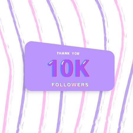 1000 followers thank you card. Cover with papercut effect and brush abstract lines. Template for social media. Vector illustration.