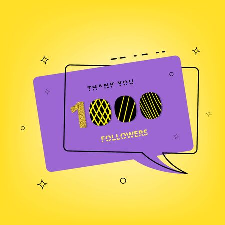 1000 followers thank you banner with speech bubble. Post for social media. Vector llustration.