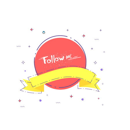 Follow me badge on Handwritten phrase with ribbon Vector illustration. Illustration