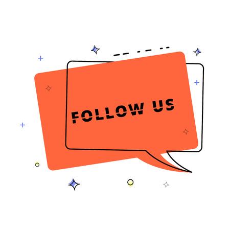 Follow us lettering on geometric speech bubble banner. Vector illustration.  Illustration