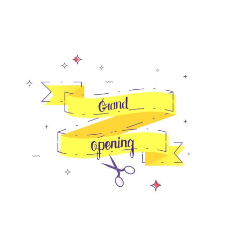 Grand opening banner isolated on white background. Vector illustration. Illustration