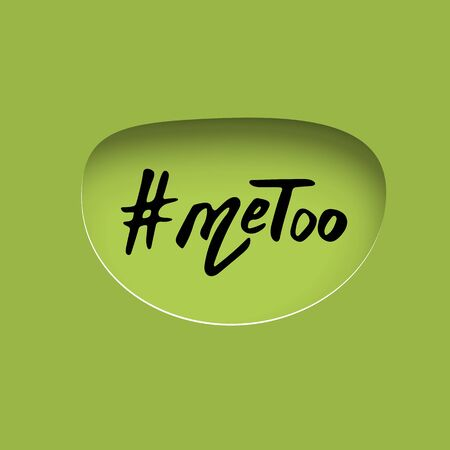 Hashtag Me too. Handwritten lettering Metoo. Papercut effect. Vector illustration. Vectores