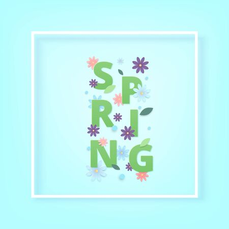 Spring square card with flowers and frame vector illustration.