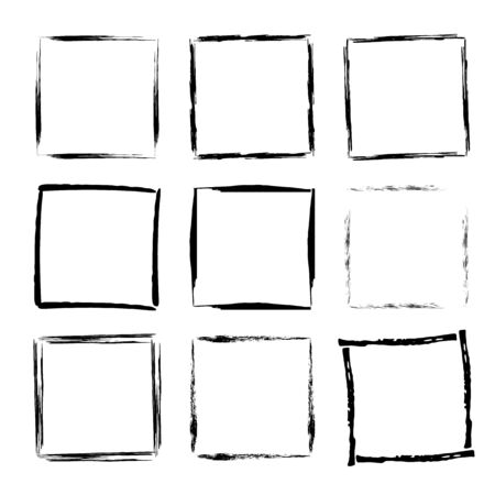 Set of grunge square frames. Collection of empty borders vector illustration.