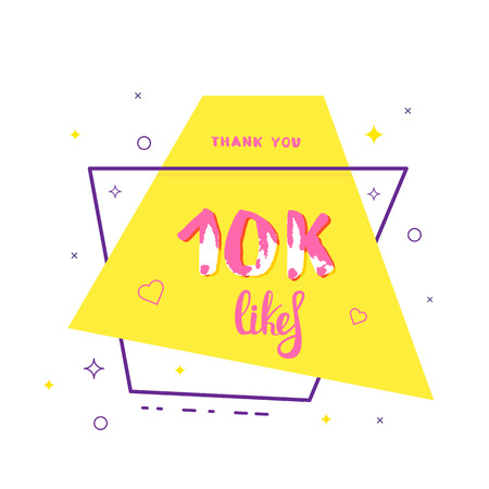10k likes thank you card. Template for social media. Vector illustration.