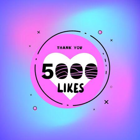 5000 likes thank you card. Template for social media. Vector illustration. Illustration