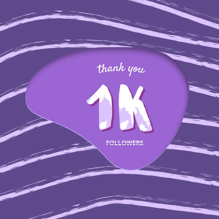 1K followers thank you card. Cover with papercut shape and brush abstract lines. Template for social media. Vector illustration.