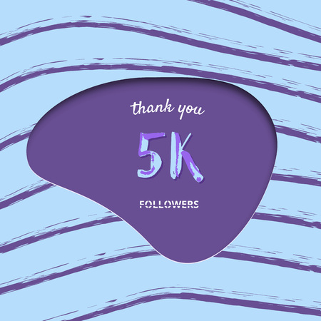 5K followers thank you card. Cover with papercut effect and brush abstract lines. Template for social media. Vector illustration. Illusztráció
