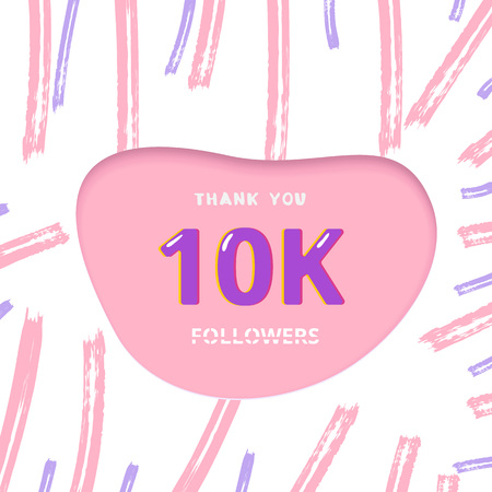 10K followers thank you card. 10000 subscribers cover with papercut shape and brush abstract lines. Template for social media. Vector illustration. Stock Illustratie