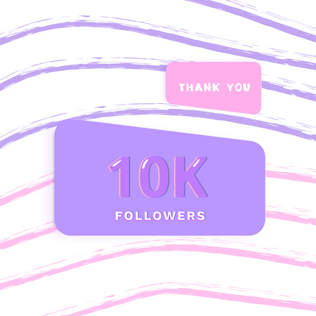 10K followers thank you card. Cover with papercut effect and brush abstract lines. Template for social media. Vector illustration.
