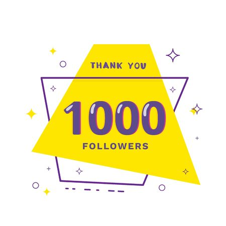 1000 followers thank you card. Celebration 1k subscribers geometric banner. Template for social media. Vector illustration.