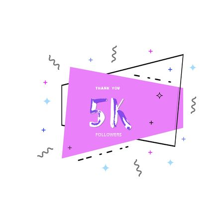 5k followers thank you card. Celebration 5000 subscribers geometric banner. Template for social media. Vector illustration.