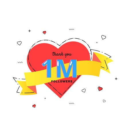 1M followers thank you card. Celebration 1 million  subscribers heart banner. Template for social media. Vector illustration.