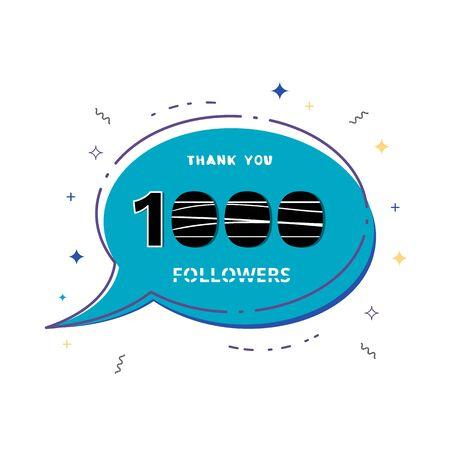 1000 followers thank you card. Celebration 1k subscribers geometric banner. Template for social media. Vector illustration. Vektoros illusztráció
