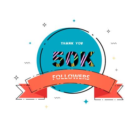 50k followers thank you card. Celebration 50000 subscribers geometric banner. Template for social media. Vector illustration. Vektoros illusztráció