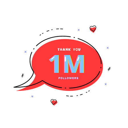 1M followers thank you card. Celebration 1000000 subscribers geometric banner. Template for social media. Vector illustration.