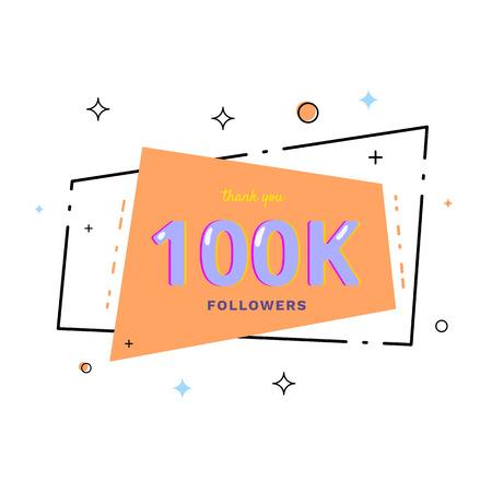 100k followers thank you card. Celebration 100000 subscribers geometric banner. Template for social media. Vector illustration. Vektoros illusztráció