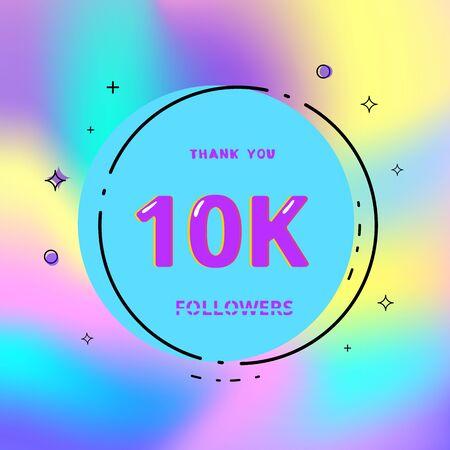 10k followers thank you card. Celebration 10000 subscribers geometric banner. Template for social media. Vector illustration. Vektoros illusztráció