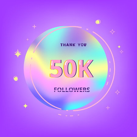 50k  followers thank you card. Celebration 50000 subscribers geometric banner. Template for social media. Vector illustration. 向量圖像