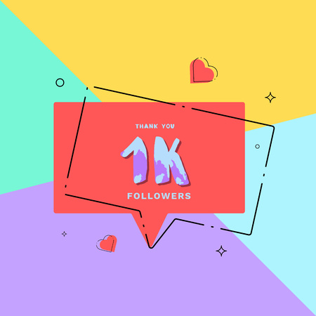 1kfollowers thank you card. Celebration 1000 subscribers geometric banner. Template for social media. Vector illustration.