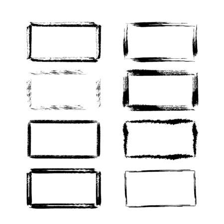 Set of grunge horizontal frames. Vector illustration. Stock Illustratie