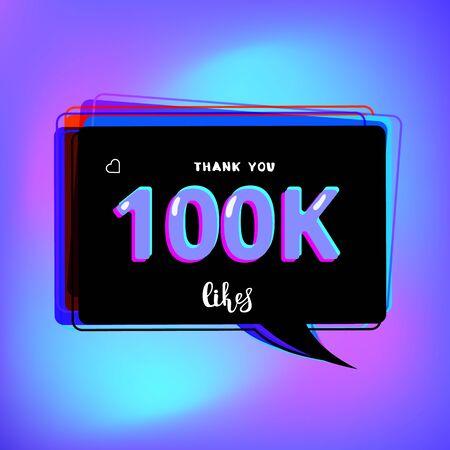 100k likes thank you card. Template for social media. Vector illustration.