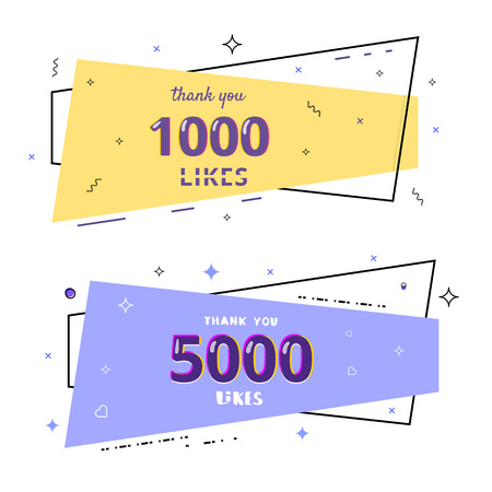 1000 and 5000 likes thank you cards. Template for social media. Vector illustration.