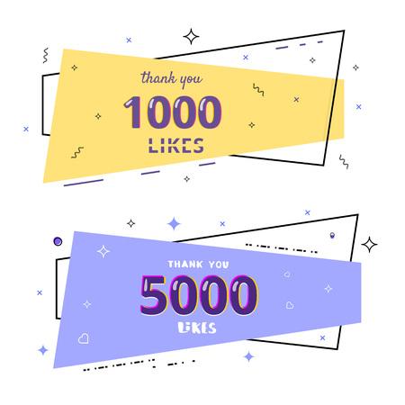 1000 and 5000 likes thank you cards. Template for social media. Vector illustration. Illusztráció