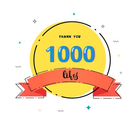 1000 likes thank you card. Template for social media. Vector illustration.