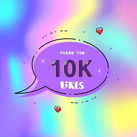 10k likes thank you card. Template for social media. Vector illustration. Vektoros illusztráció