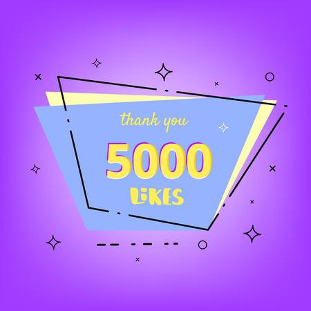 5000 likes thank you card. Template for social media. Vector illustration. Illusztráció