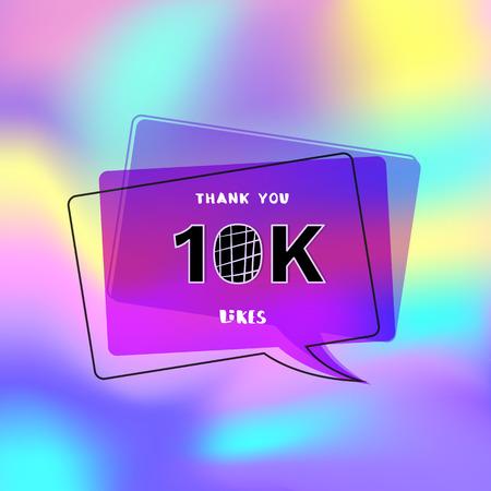 10k likes thank you card. Template for social media. Vector illustration.