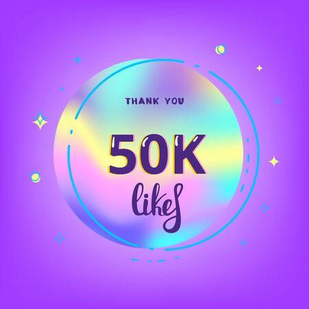 50k likes thank you card. Template for social media. Vector illustration. Vektoros illusztráció