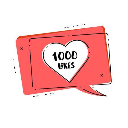 1000 likes thank you card. Template for social media. Vector illustration. Vektoros illusztráció