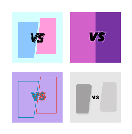 Set of versus card. VS banner with cut background. Vertical illustration.