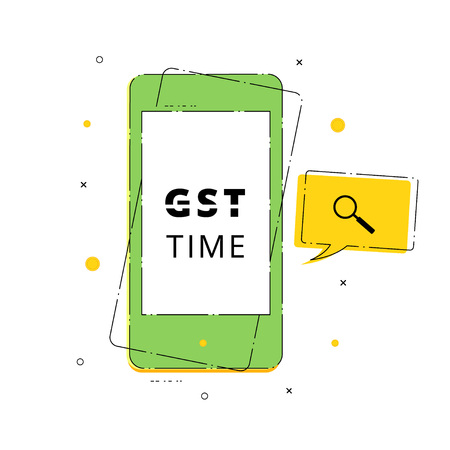 GST Time text with phone isolated on white background. Vector illustration.