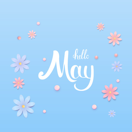 Hello May banner. Handwritten lettering. Vector illustration. Vectores