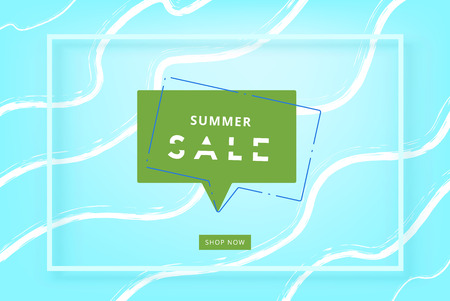Summer sale card vector illustration in green and blue colors.