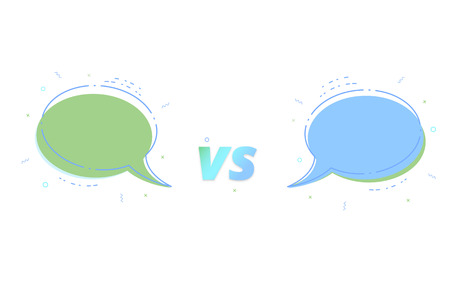 VS card with empty speech bubbles vector illustration