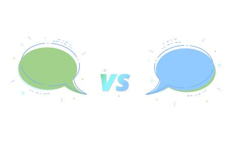VS card with empty speech bubbles vector illustration