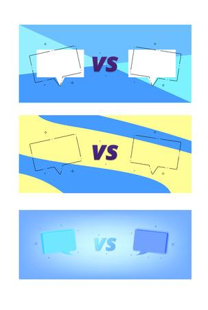 Set of versus cards. Versus screens templates with empty speech bubbles. Vector illustration.