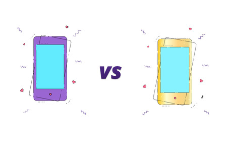 Versus screen template. VS horizontal card with phones.  Vector illustration.