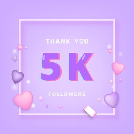 5K followers thank you card. Celebration for 5000 subscribers banner. Template for social media. Vector illustration.