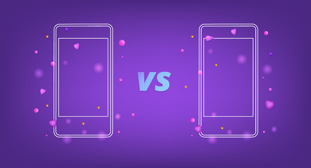 Versus screen template. VS  card with phones. Vector illustration.