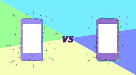 VS horizontal card with phones.  Versus screen template. Vector illustration.