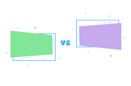 VS card with empty geometric shapes.  Versus screen template. Vector illustration.