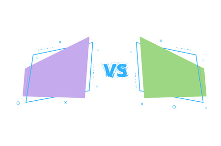 vs card with geometric shapes versus screen template vector